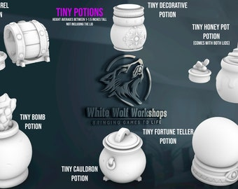 Tiny Potions w/ Lids Series 1 -    Dungeons & Dragons   Tabletop Gaming   Mythic Dice Box   Apothecary or Alchemist Cosplay   dnd   prop  