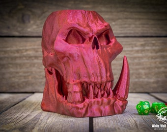Orc Skull Mythic Mug Stein   Tabletop Gaming   dnd   Dungeons and Dragons, D&D, Pathfinder, Warhammer 40k   Drink Holder   Koozie   Cosplay