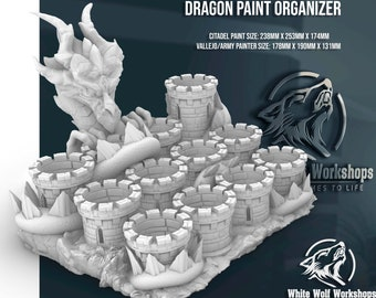Dragon Paint Organizer   Tabletop RPG Gaming - Dungeons and Dragons, DnD, D&D, 5E, Pathfinder, Frostgrave, Warhammer 40k   Fates End