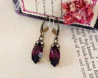 1930/'s Style Silver Earrings set with Marquise Crystal