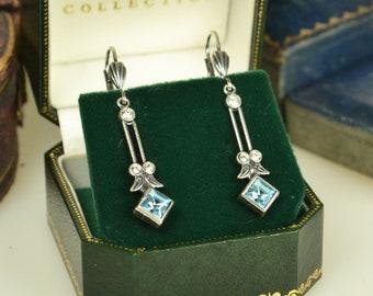 Art Deco Style Silver & Crystal Drop Earrings