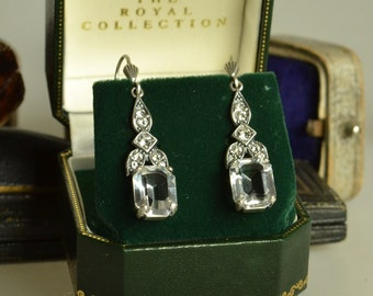 1920's Style Silver and Crystal Earrings
