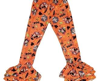 Halloween Mickey and Minnie bell bottom ruffle leggings