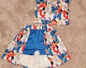 Lilo and Stitch shorts and crop top set, skirt, skort, shorts, Hawaiian