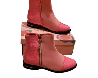 Girls pink/coral patent leather alligator skin suede cowgirl boots