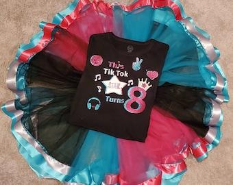 Tiktok tutu birthday set,tiktok tshirt,customized, tiktok,layered tutu,made to order,personalize,personalized,birthday tutu, birthday outfit