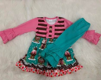 Holiday girls 2 piece set, christmas clothing, christmas dress, christmas leggings, christmas outfit, christmas bell bottoms
