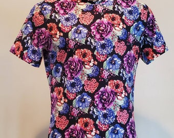 Mens colorful flower graphic tshirt, flowers, big and tall