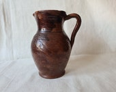 Vintage clay jug, Old clay vase, Wabi sabi, Wine pitcher, Broun pottery pot with handle, Farm house, Rustic Decor
