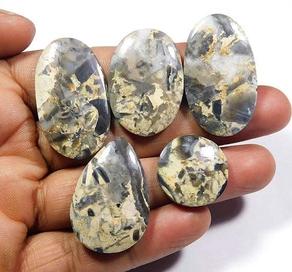Natural Kawanite Jasper Cabochon  Top Grade Designer Kawanite Jasper Gemstone High Quality Fancy Shape 17 Ct  26x29x4mm Loose Gemstone