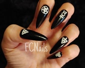 Wiccan False Nails, Black White Witch Nails, Hand Painted Acrylic Press On Nails