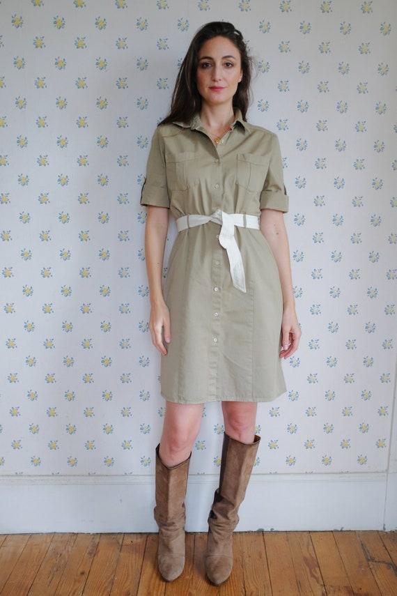 Beige tweed cotton saharan style dress // Cotton s