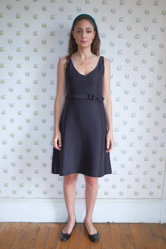 Black strap silk dress // Black cocktail dress