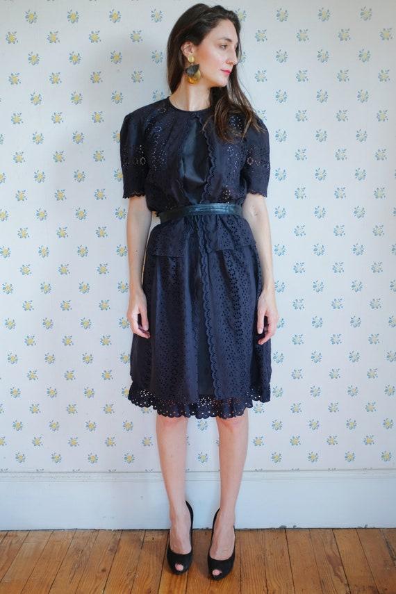 80's black knee cotton dress //black lace dress