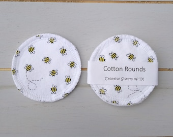 Set of 6 Buzzing Bee Cotton Rounds