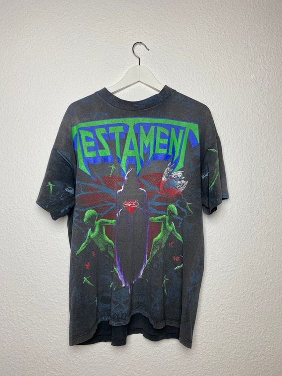 Vintage 90s Testament all over print tshirt rare
