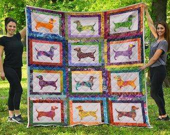 Dachshund Quilt / Dachshund Lovers Quilt / Dachshund Gift / Love Dachshunds CLP250610 Quilt / Gift for Women / Gift for Dachshund Lover