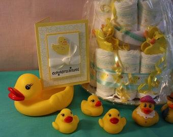 3D Neutral Baby Yellow Duck Card