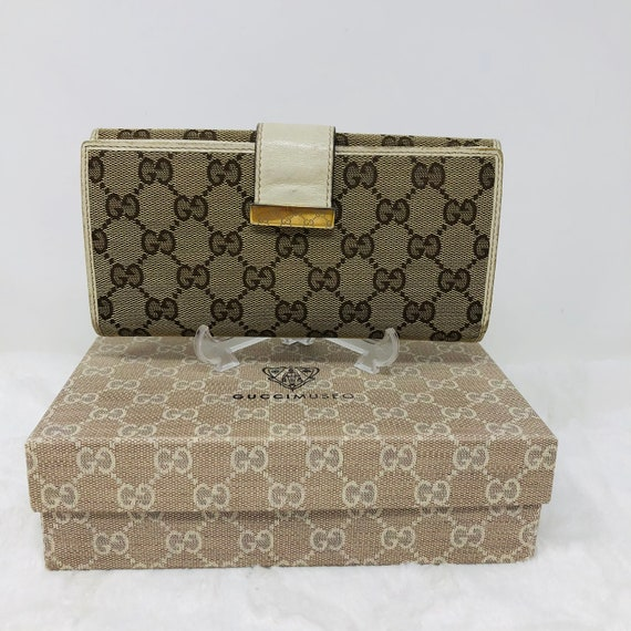 GUCCI Cream GG Leather Wallet
