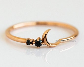Moon Ring,Black Onyx Ring,Rose Gold Moon Ring,Moon Silver Ring,Gemstone Ring, Wedding Ring, Ring for Her,Ring for Friend