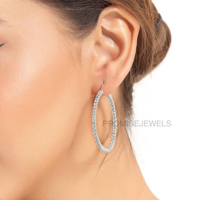 Gift for Her Wedding Gift Blue Topaz Hoops Earrings,Large Hoops Earrings,Silver Hoops Earrings,Blue Topaz Hoops,Gemstone Hoops
