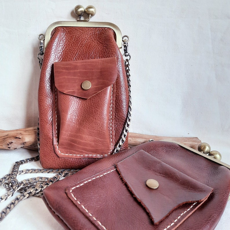 Edwardian Gloves, Handbags, Hair Combs, Wigs Leather Frame Crossbody Smartphone Bag IPhone Travel Purse Leather Crossbody Phone Purse Metal Chain Bag Leather Traveler Phone Bag. $71.90 AT vintagedancer.com