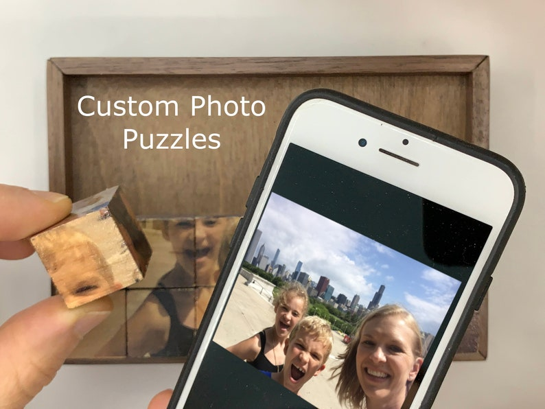 Christmas Gift for Mom Block Puzzle Christmas Gift for Grandparents Birthday Photo Puzzle Wood Print Christmas Gift for Dad