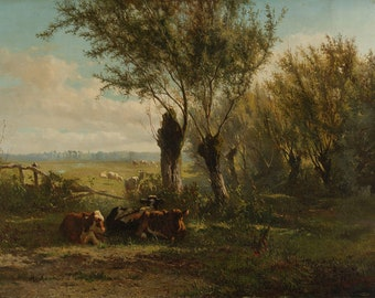 Bovine at Pasture Oil on Canvas Painting