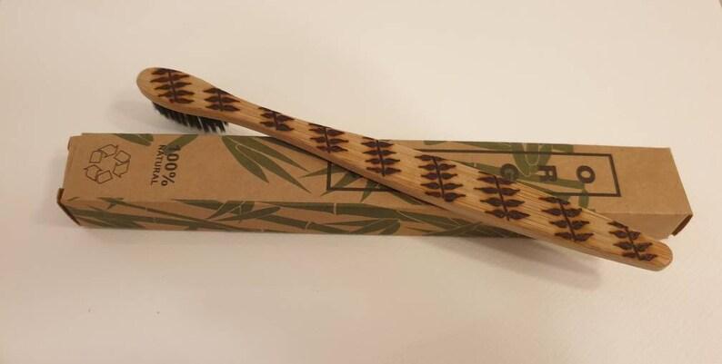 Bamboo toothbrush. Organic eco-friendly wood burned and image 1