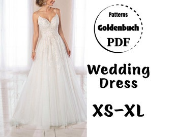 XS-XL Wedding Dress PDF Sewing Pattern Bridal Gown A-line Evening Dress Long Sleeve Dress Full Circle Skirt Maxi Prom Formal Outfit with Bow