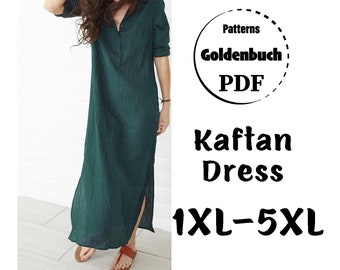 1XL-5XL Plus Size Kaftan Dress PDF Sewing Pattern Long Sleeve Maxi Dress Loose Fit Tunic Oversized Dress with Buttons Basic Women Clothes