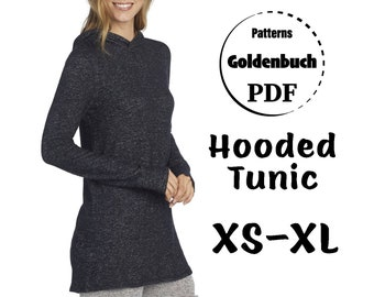 XS-XL Tunic with Hood PDF Sewing Pattern Long Sleeve Shirt Basic Hoodie Jersey ActiveWear Simple Knit Top Women Sport Clothes Print at Home