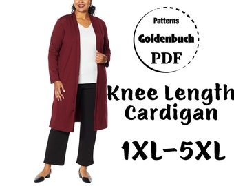 1XL-5XL Plus Size Cardigan PDF Sewing Pattern Long Sleeve Duster Open Front Jacket Plunge Neck Women Clothes DIY Basic Maternity Outfit