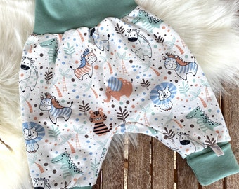 Pump Pants Baby/62-68/74/80/Wild Animals/Zebra/Elephant/Lion/Crocodile/Boy/Girl/Pattern Lybstes/