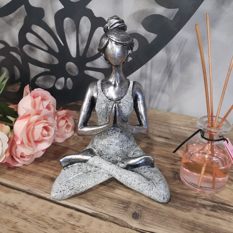 Yoga Lady Figurine Yoga Lady Ornament Spiritual Gifts Home Silver & White
