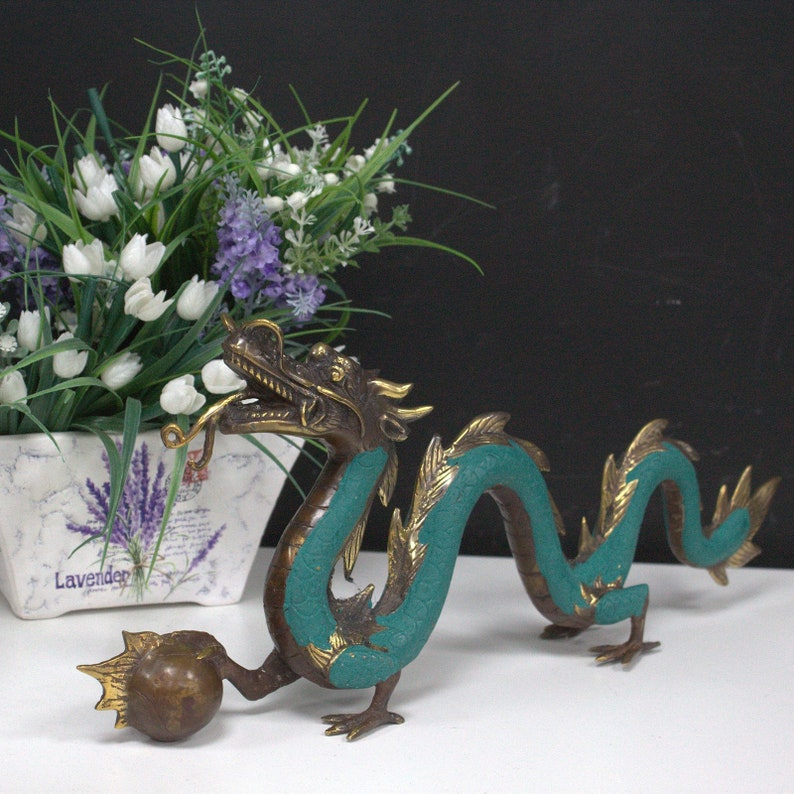 Brass Feng Shui Dragon Dragon Ornament Handcrafted Dragon image 0