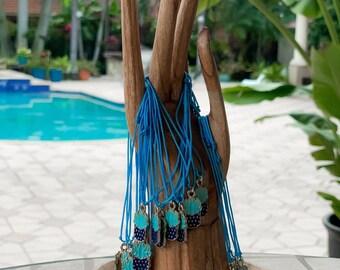 Protect Me Succulent Charm Blue String Kabbalah Bracelet