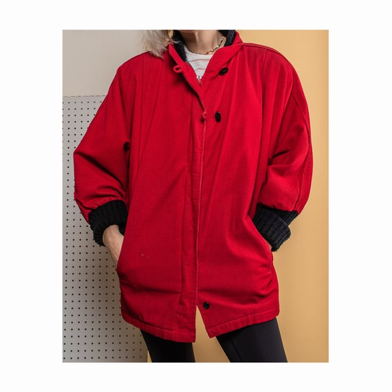 Vintage Red Corduroy Bat Wing Jacket, 80s