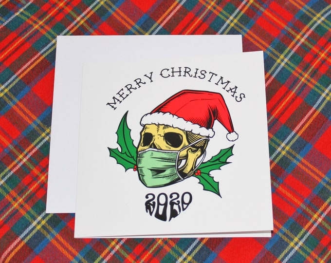 2020 Christmas Card Greetings Alternative Lockdown Skull Theme