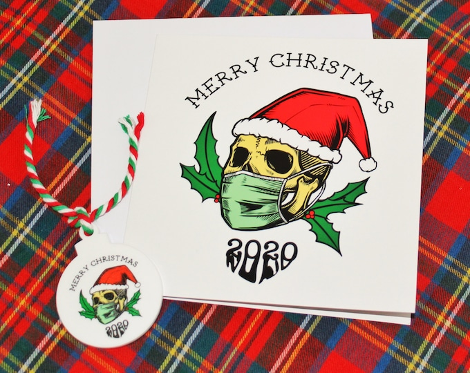 Christmas Card and Bauble Gift Set 2020 Alternative Themed Lockdown Skull