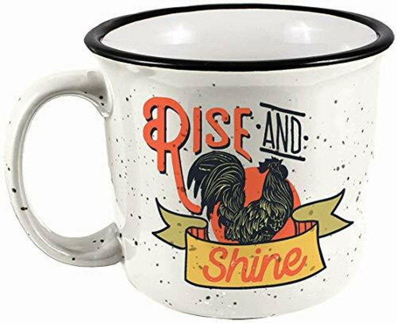 Spoontiques Rise and Shine Camper Mug White 14 ounces