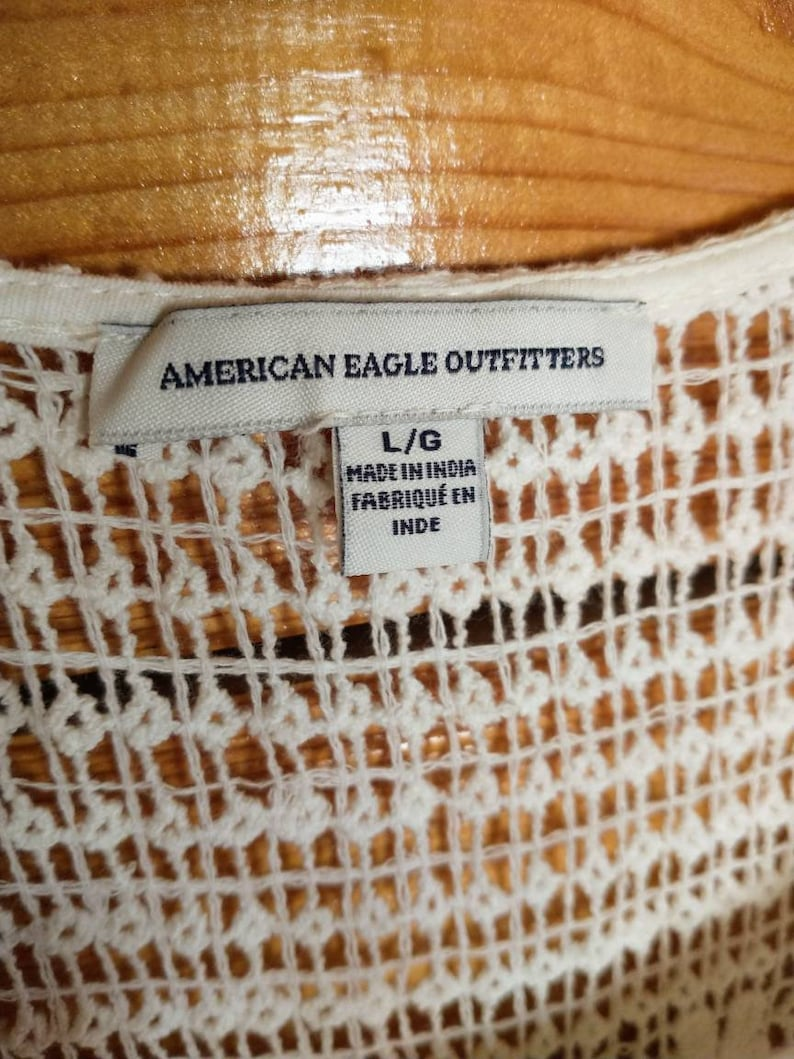 Large white American Eagle retro crocheted dress with built in slip
