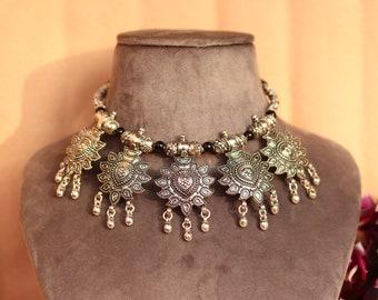 Hand crafted  silver oxidized necklace with earringsBoho JewelryIndian Ethnic Oxidized Jewelryoxidized Indiana jewelry