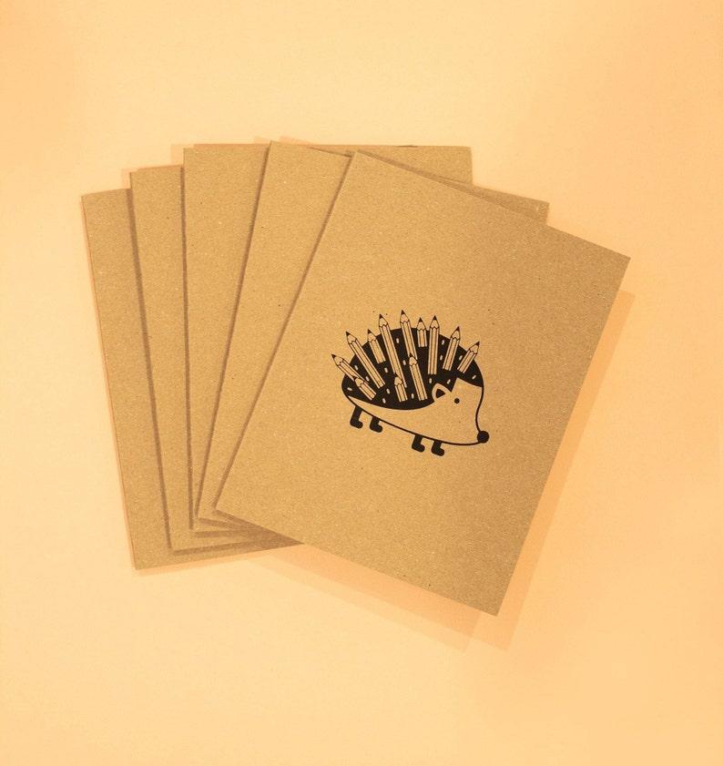 Hedgehog Set of 5 Hand Screen Printed Greeting Cards