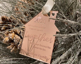 Born in Lockdown Hanging Tag Gold or Silver Mirror Baby/'s Keepsake Star Baby Girl/'s Personalised Hanging Decoration in Rose Gold