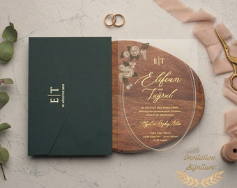 Personalized Custom Acrylic Feather Wedding Invitation or Announcement Clear FREE US SHIPPING