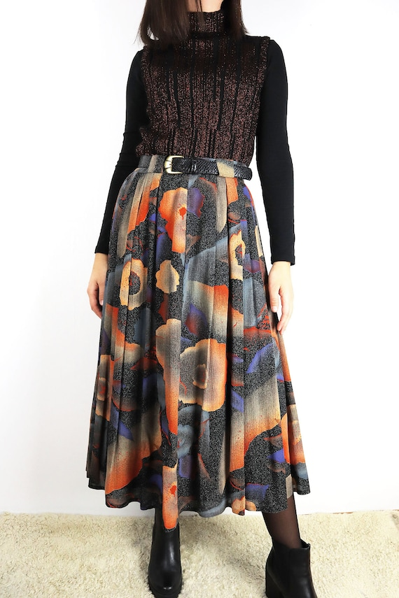 Pleated Vintage Midiskirt Abstract Print