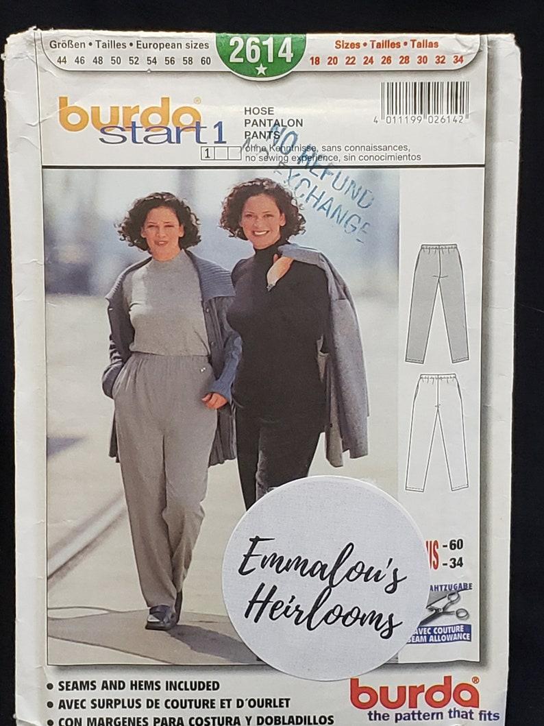 Elastic Waist OOP Burda Sewing Pattern 2614 Plus Sizes 18-34 Vintage Trousers UNCUT Start 1 FF classic simple lines with pocket