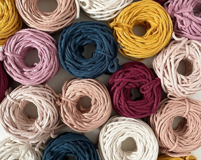4mm Recycled Cotton Cord/ 20m/65feet/ Bundles