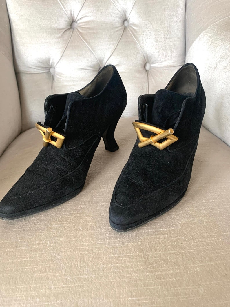 Vintage Karl Lagerfeld ankle boots in suede and leather in the eighteenth century style